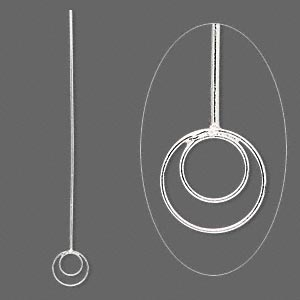 Headpin, Sterling Silver, 2-1/4 Inches 8.5mm Double Loop, 20 Gauge. Sold Per Pkg 4