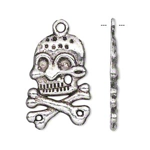 "Charm, Antiqued Silver-finished ""pewter"" (zinc-based Alloy), 26x19mm Single-sided Skull Crossbones. Sold Per Pkg 10"