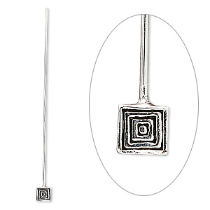 Headpin, Sterling Silver, 2-1/4 Inches 4.5mm Square, 20 Gauge. Sold Per Pkg 4