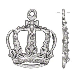 "Focal, Antiqued Silver-finished ""pewter"" (zinc-based Alloy), 30x28mm Single-sided Royal Crown. Sold Per Pkg 10"