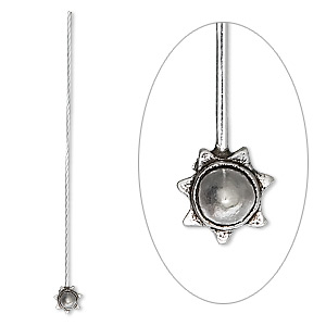 Headpin, Sterling Silver, 2-1/4 Inches 5mm Star Cone, 20 Gauge. Sold Per Pkg 4