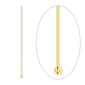 Headpin, Gold-plated Brass, 1-1/2 Inches 1.5mm Ball, 24 Gauge. Sold Per Pkg 100