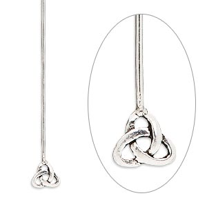 Headpin, Sterling Silver, 2-1/4 Inches 6mm Celtic Triangle Knot, 20 Gauge. Sold Per Pkg 4