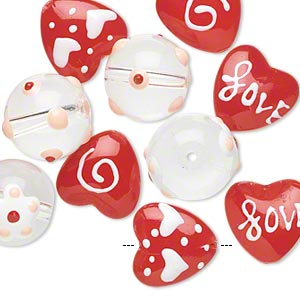 Bead, Glass Epoxy, Multicolored, 14mm Round 14x14mm Double-sided Flat Heart Valentine-themed Designs. Sold Per Pkg 10