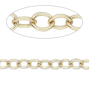 Chain, 14Kt Gold-filled, 7x6mm Oval Cable. Sold Per Pkg 30 Inches