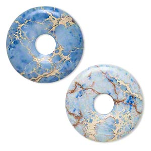 Focal, Magnesite (dyed / Stabilized), Blue, 40mm Hand-cut Round Donut, B Grade, Mohs Hardness 3-1/2 4. Sold Individually