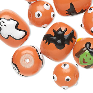 Bead, Glass Epoxy, Multicolored, 12-14mm Round 18x14mm Barrel Halloween-themed Designs. Sold Per Pkg 10
