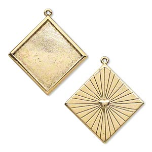 Pendant Settings Gold Plated/Finished Square