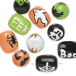 Bead, Glass Epoxy, Multicolored, 14mm Round 18x14mm Barrel Halloween-themed Designs. Sold Per Pkg 10