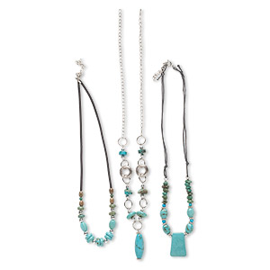 Necklace Mix, Magnesite (dyed / Stabilized) / Silver-finished Steel / Color-coated Plastic, Blue Black, 33x10mm-37x11mm Focal, 18 22 Inches Springring Clasp 2-inch Extender Chain. Sold Per Pkg 3 9235CX