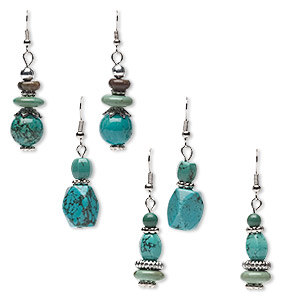 Earring Mix, Magnesite (dyed / Stabilized) Silver-finished Steel, Blue / Green / Brown, 44x12mm-53x14mm Dangle, Fishhook Earwire. Sold Per Pkg 3 Pairs 9236CX