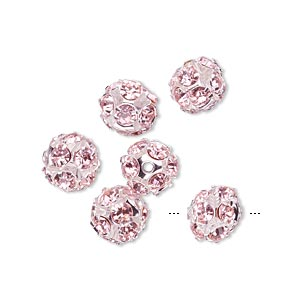 Beads Imitation rhodium-plated Pinks