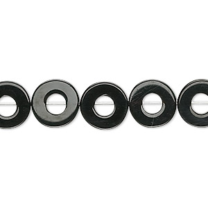 Bead, Black Onyx (dyed), 10x3mm Round Donut, B Grade, Mohs Hardness 6-1/2 7. Sold Per 16-inch Strand 9259GS