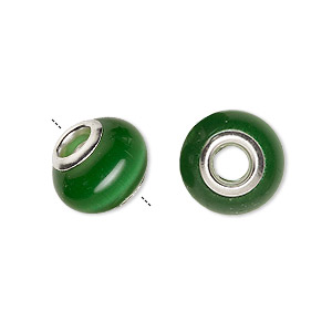Bead, Dione®, Cat's Eye Glass Silver-plated Brass Grommets, Dark Green, 13x10mm-14x10mm Rondelle 4.5-5mm Hole. Sold Per Pkg 6 9261GL