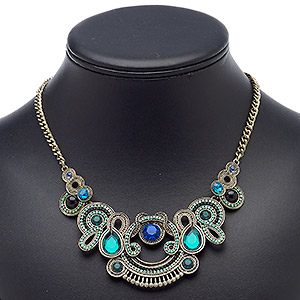 "Necklace, Acrylic / Resin / Antique Gold-finished Steel / Aluminum / ""pewter"" (zinc-based Alloy), Multi-green / Multi-blue / Black, 17 Inches 3-inch Extender Chain Lobster Claw Clasp. Sold Individually 9268JD"