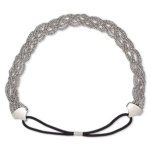 14 Silver Imitation Rhodium Plating Metal Double Band Headband