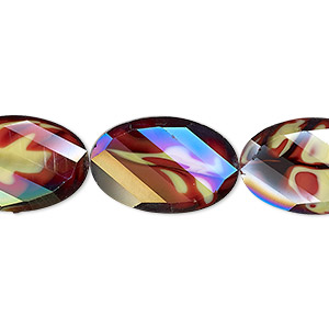 Bead, Millefiori Glass, Marbled Yellow Red AB, 20x13mm Faceted Wavy Oval. Sold Per 8-inch Strand, Approximately 10 Beads