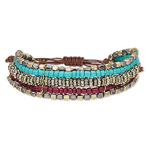 Bracelet, 5-strand, Waxed Cotton Cord / Glass / Gold-coated Acrylic / Gunmetal-plated / Gold-finished Steel, Multicolored, 22mm Wide, Adjustable 7-9 Inches Macramé Knot Closure. Sold Individually 9289JD