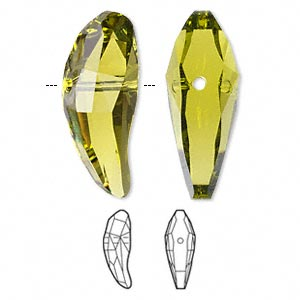Bead, Swarovski® Crystals, Crystal Passions®, Olivine, 28x10.5mm Faceted Aquiline (5530). Sold Individually 5530