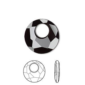 Drop, Swarovski® Crystals, Crystal Passions®, Jet, 18mm Faceted Victory Pendant (6041). Sold Per Pkg 6 6041