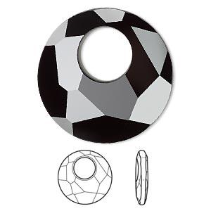 Drop, Swarovski® Crystals, Crystal Passions®, Jet, 28mm Faceted Victory Pendant (6041). Sold Per Pkg 6 6041