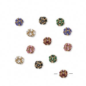 Bead, Silver-plated Gold-finished Brass Glass Rhinestone, Assorted Colors, 8mm Round. Sold Per Pkg 12