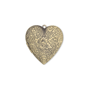 Focal, Antiqued Brass, 42x40mm Double-sided Heart Locket Stamped Flower Scroll Design. Sold Individually