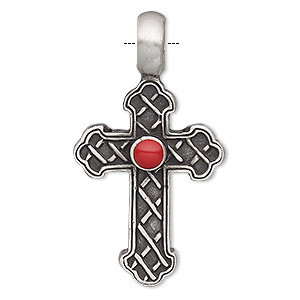 Pendant, Resin Antiqued Pewter (tin-based Alloy), Red, 47x26mm Single-sided Textured Cross. Sold Individually
