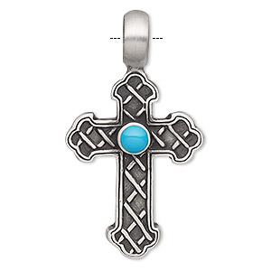 Pendant, Resin Antiqued Pewter (tin-based Alloy), Turquoise Blue, 47x26mm Single-sided Textured Cross. Sold Individually