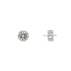 "Bead, Antique Silver-plated ""pewter"" (zinc-based Alloy), 6x6mm Double-sided Flat Round Daisy. Sold Per Pkg 20"