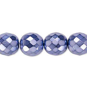Bead, Czech Fire-polished Glass, Lilac Carmen, 12mm Faceted Round. Sold Per 16-inch Strand 152-19001-00-12mm-23980-70022