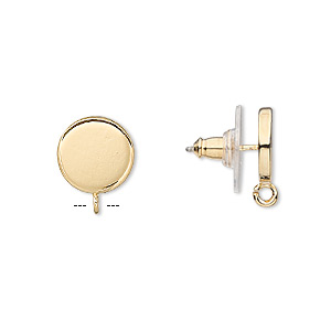 Earstud, Gold-plated Steel Stainless Steel, 10mm Round Open Loop. Sold Per Pkg 2 Pairs