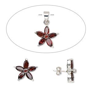 Jewelry Sets Garnet Silver Colored