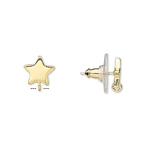 Earstud, Gold-plated Steel Stainless Steel, 9x9mm Star Closed Loop. Sold Per Pkg 2 Pairs