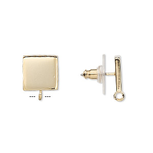 Earstud, Gold-plated Steel Stainless Steel, 10x10mm Square Closed Loop. Sold Per Pkg 2 Pairs