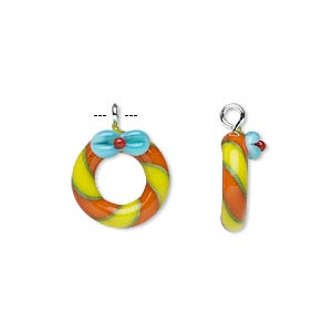 Drop, Lampworked Glass Silver-finished Steel, Multicolored, 13mm Wreath Bow. Sold Per Pkg 2
