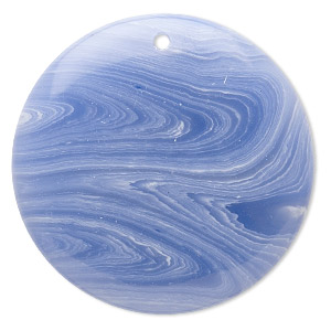 Focal, Blue Lace Agate (imitation), Blue White, 40mm Top-drilled Flat Round. Sold Individually