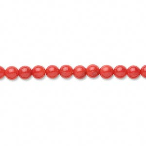 Red Coral Round Beads, 4-5mm. (Dyed) Pkg. Two 15in Strands