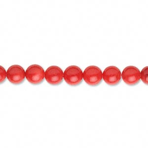 Bead, Coral (dyed), Red, 5mm Round. Sold Per 15-inch Strand
