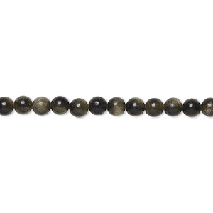 Beads Grade A Golden Sheen Obsidian