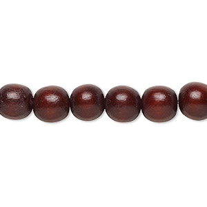 Bead, Wood (dyed / Waxed), Dark Brown, 7-8mm Round. Sold Per Pkg (2) 16-inch Strands