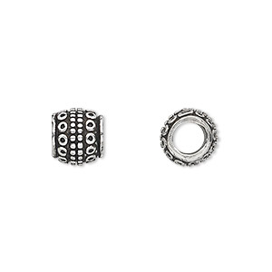 Bead, Antique Silver-plated White Brass, 9x8mm Beaded Barrel Dots Circles, 5mm Hole. Sold Per Pkg 4