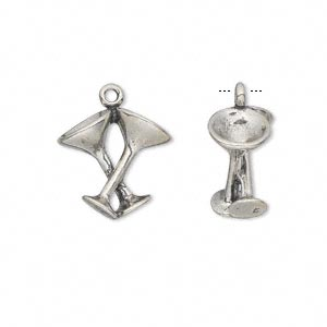 Charm, Antiqued Sterling Silver, 15x15mm 3D Martini Glasses. Sold Individually
