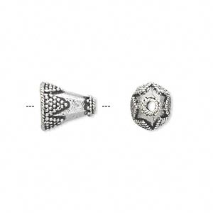 Cone, Antique Silver-plated White Brass, 11x10mm Beaded Triangles, 7x6mm Inside Diameter. Sold Per Pkg 4