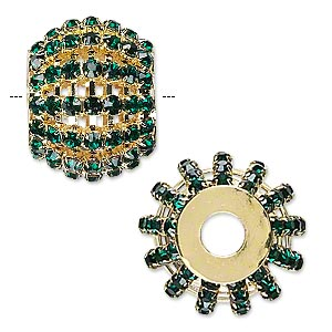 Bead, Glass Rhinestone Gold-finished Brass, Emerald Green, 25x20mm Barrel 3mm Chatons, 6.5mm Hole. Sold Individually