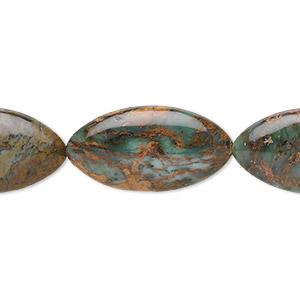 Lot Of 50 Beads Ovals Wood 5 X 8 MM Green Dark