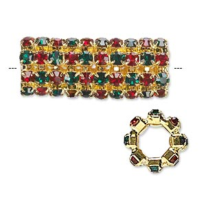 Bead, Glass Rhinestone Gold-finished Brass, Ruby Red Emerald Green, 32x13mm Cylinder, 7.5mm Hole. Sold Individually