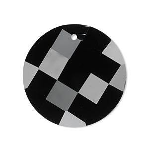 Focal, Glass, Black, 30mm Checkerboard Faceted Disc. Sold Individually