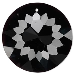 Focal, Glass, Black, 45mm Faceted Disc. Sold Individually