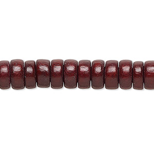Bead, Wood (dyed / Waxed), Dark Brown, 8x4mm Rondelle. Sold Per Pkg (2) 16-inch Strands